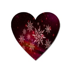 Christmas Snowflake Ice Crystal Heart Magnet by Nexatart