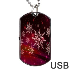 Christmas Snowflake Ice Crystal Dog Tag Usb Flash (one Side)