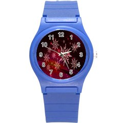 Christmas Snowflake Ice Crystal Round Plastic Sport Watch (s)