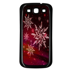 Christmas Snowflake Ice Crystal Samsung Galaxy S3 Back Case (black)