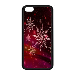 Christmas Snowflake Ice Crystal Apple Iphone 5c Seamless Case (black) by Nexatart