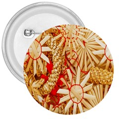 Christmas Straw Xmas Gold 3  Buttons by Nexatart