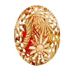 Christmas Straw Xmas Gold Oval Filigree Ornament (two Sides) by Nexatart