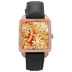 Christmas Straw Xmas Gold Rose Gold Leather Watch