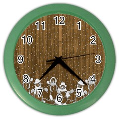 Christmas Snowmen Rustic Snow Color Wall Clocks by Nexatart