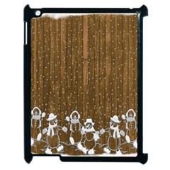 Christmas Snowmen Rustic Snow Apple iPad 2 Case (Black) by Nexatart