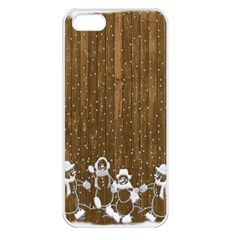 Christmas Snowmen Rustic Snow Apple Iphone 5 Seamless Case (white)