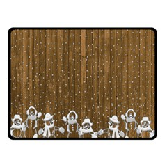 Christmas Snowmen Rustic Snow Double Sided Fleece Blanket (small)