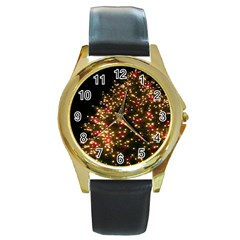 Christmas Tree Round Gold Metal Watch by Nexatart