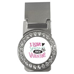 I Love You My Valentine (white) Our Two Hearts Pattern (white) Money Clips (cz)  by FashionFling