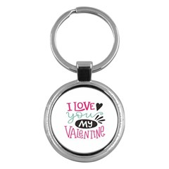 I Love You My Valentine (white) Our Two Hearts Pattern (white) Key Chains (round)  by FashionFling