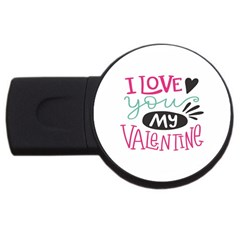 I Love You My Valentine (white) Our Two Hearts Pattern (white) Usb Flash Drive Round (4 Gb) by FashionFling
