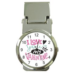 I Love You My Valentine (white) Our Two Hearts Pattern (white) Money Clip Watches by FashionFling