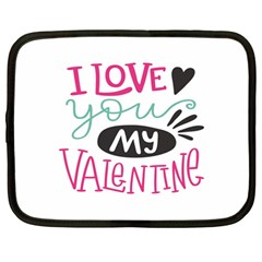 I Love You My Valentine (white) Our Two Hearts Pattern (white) Netbook Case (large) by FashionFling