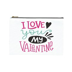 I Love You My Valentine (white) Our Two Hearts Pattern (white) Cosmetic Bag (large)
