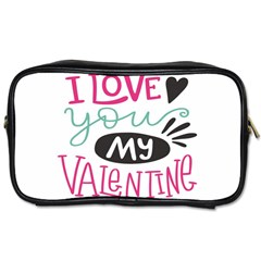 I Love You My Valentine (white) Our Two Hearts Pattern (white) Toiletries Bags by FashionFling