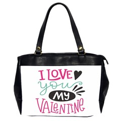 I Love You My Valentine (white) Our Two Hearts Pattern (white) Office Handbags (2 Sides)  by FashionFling