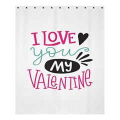 I Love You My Valentine (white) Our Two Hearts Pattern (white) Shower Curtain 60  X 72  (medium)  by FashionFling