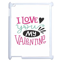 I Love You My Valentine (white) Our Two Hearts Pattern (white) Apple Ipad 2 Case (white) by FashionFling