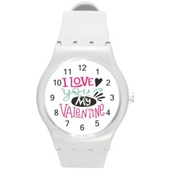 I Love You My Valentine (white) Our Two Hearts Pattern (white) Round Plastic Sport Watch (m) by FashionFling