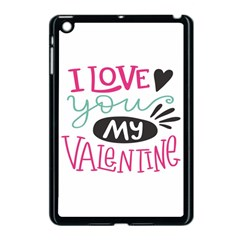 I Love You My Valentine (white) Our Two Hearts Pattern (white) Apple Ipad Mini Case (black) by FashionFling