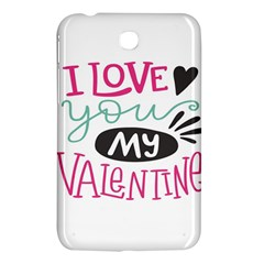 I Love You My Valentine (white) Our Two Hearts Pattern (white) Samsung Galaxy Tab 3 (7 ) P3200 Hardshell Case  by FashionFling