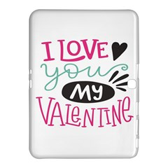 I Love You My Valentine (white) Our Two Hearts Pattern (white) Samsung Galaxy Tab 4 (10 1 ) Hardshell Case  by FashionFling