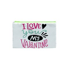 I Love You My Valentine (white) Our Two Hearts Pattern (white) Cosmetic Bag (xs) by FashionFling