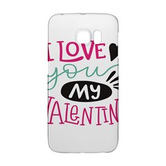 I Love You My Valentine (white) Our Two Hearts Pattern (white) Galaxy S6 Edge by FashionFling