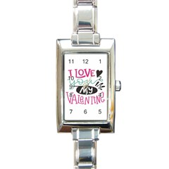 I Love You My Valentine (white) Our Two Hearts Pattern (white) Rectangle Italian Charm Watch by FashionFling