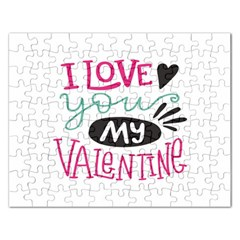 I Love You My Valentine (white) Our Two Hearts Pattern (white) Rectangular Jigsaw Puzzl by FashionFling
