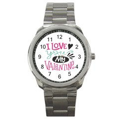 I Love You My Valentine (white) Our Two Hearts Pattern (white) Sport Metal Watch by FashionFling