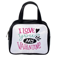 I Love You My Valentine (white) Our Two Hearts Pattern (white) Classic Handbags (one Side) by FashionFling