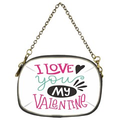 I Love You My Valentine (white) Our Two Hearts Pattern (white) Chain Purses (two Sides)  by FashionFling