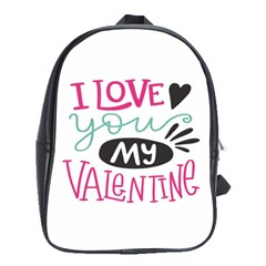I Love You My Valentine (white) Our Two Hearts Pattern (white) School Bags(large)  by FashionFling