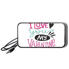 I Love You My Valentine (white) Our Two Hearts Pattern (white) Portable Speaker (black) by FashionFling