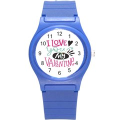 I Love You My Valentine (white) Our Two Hearts Pattern (white) Round Plastic Sport Watch (s) by FashionFling