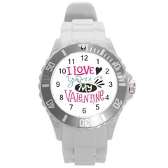 I Love You My Valentine (white) Our Two Hearts Pattern (white) Round Plastic Sport Watch (l) by FashionFling