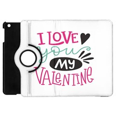 I Love You My Valentine (white) Our Two Hearts Pattern (white) Apple Ipad Mini Flip 360 Case by FashionFling