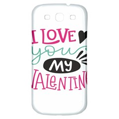 I Love You My Valentine (white) Our Two Hearts Pattern (white) Samsung Galaxy S3 S Iii Classic Hardshell Back Case by FashionFling