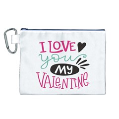 I Love You My Valentine (white) Our Two Hearts Pattern (white) Canvas Cosmetic Bag (l) by FashionFling