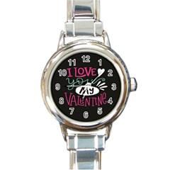 I Love You My Valentine / Our Two Hearts Pattern (black) Round Italian Charm Watch by FashionFling