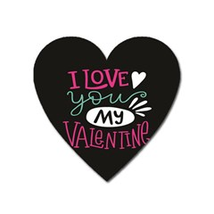 I Love You My Valentine / Our Two Hearts Pattern (black) Heart Magnet by FashionFling