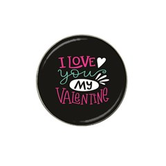 I Love You My Valentine / Our Two Hearts Pattern (black) Hat Clip Ball Marker by FashionFling