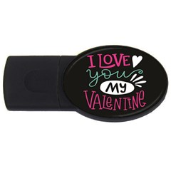 I Love You My Valentine / Our Two Hearts Pattern (black) Usb Flash Drive Oval (4 Gb) by FashionFling