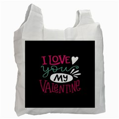 I Love You My Valentine / Our Two Hearts Pattern (black) Recycle Bag (one Side) by FashionFling