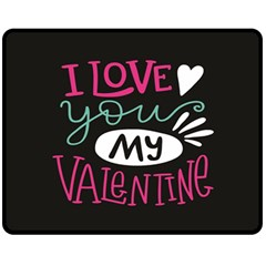 I Love You My Valentine / Our Two Hearts Pattern (black) Fleece Blanket (medium)  by FashionFling