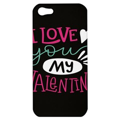 I Love You My Valentine / Our Two Hearts Pattern (black) Apple Iphone 5 Hardshell Case by FashionFling