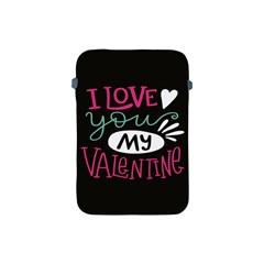 I Love You My Valentine / Our Two Hearts Pattern (black) Apple Ipad Mini Protective Soft Cases by FashionFling
