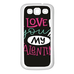 I Love You My Valentine / Our Two Hearts Pattern (black) Samsung Galaxy S3 Back Case (white) by FashionFling